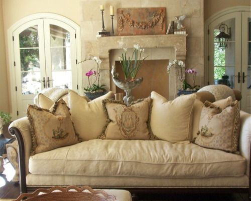 Fantastic Down Filled Sofa And Flowers To Accent French Country