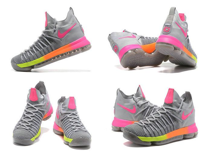 reputable site d2b7f bf0c8 KD 9 IX Elite 2017 NBA Playoffs Unlimited Wolf Grey Pink Volt Laser Orange  Newest Kevin Durant Shoes
