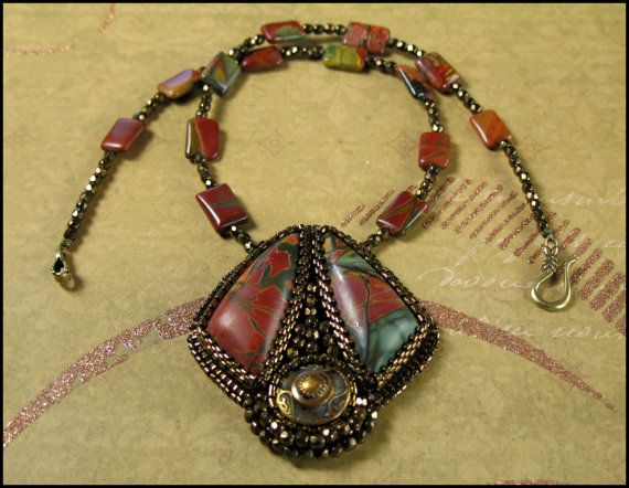 Bead Embroidered Cherry Creek Jasper Necklace by SandCottage