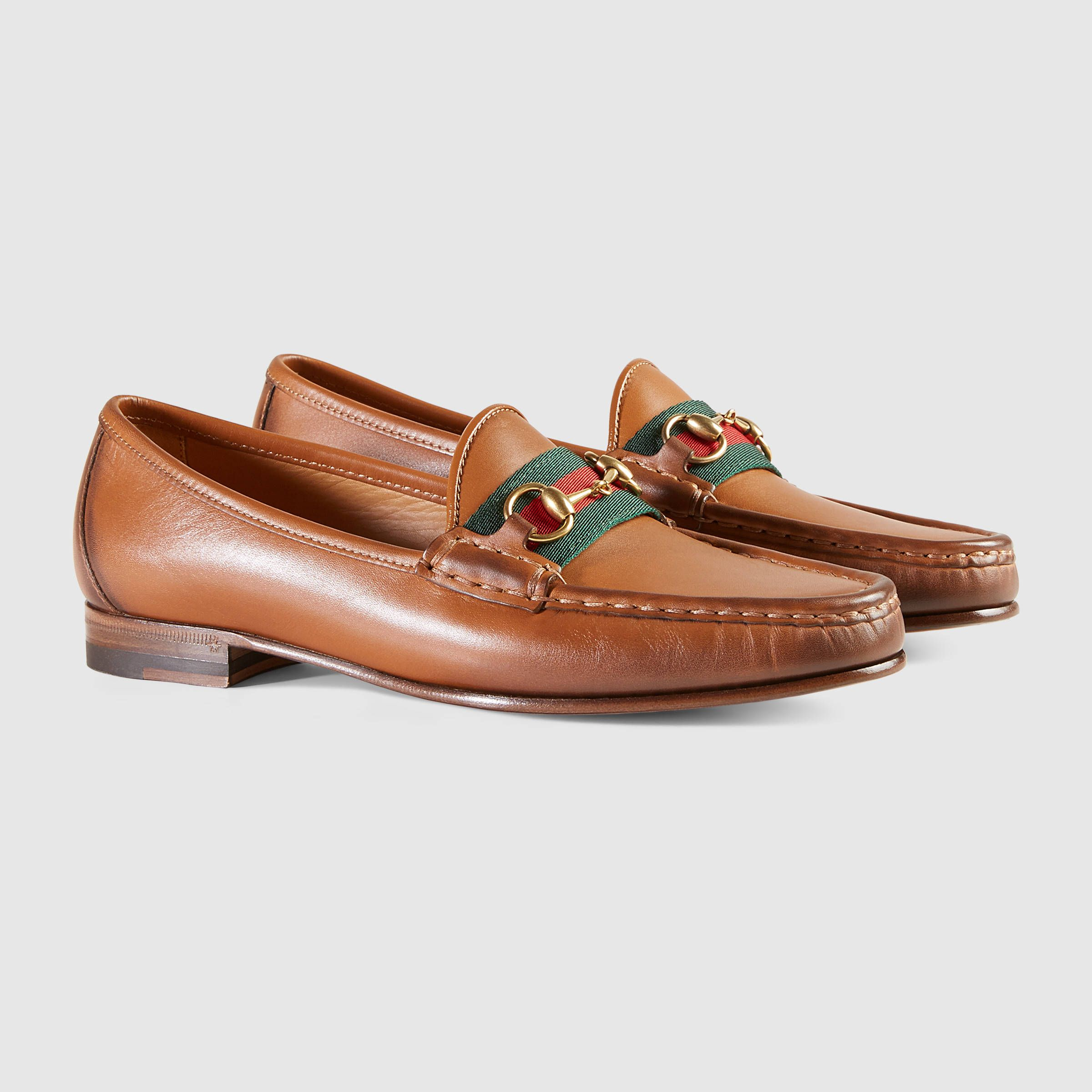 f7c6ec161 Gucci Women - Gucci Brown Leather horsebit loafers with web - $640.00