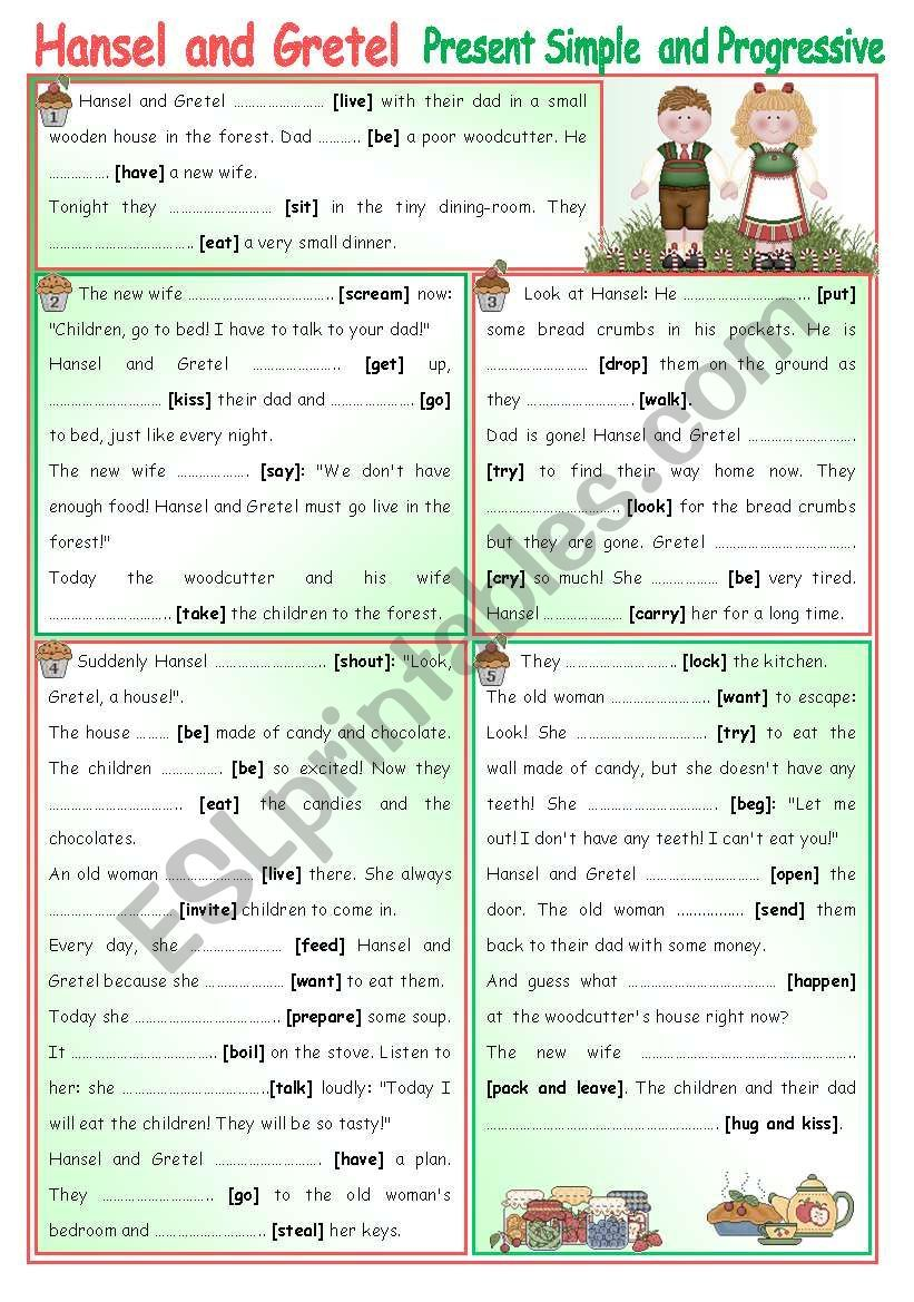 Hansel And Gretel Read The Slighly Different Story And Complete With Present Simple Or Present Progre Fairytale Stories Progress Grammar Worksheets [ 1169 x 821 Pixel ]
