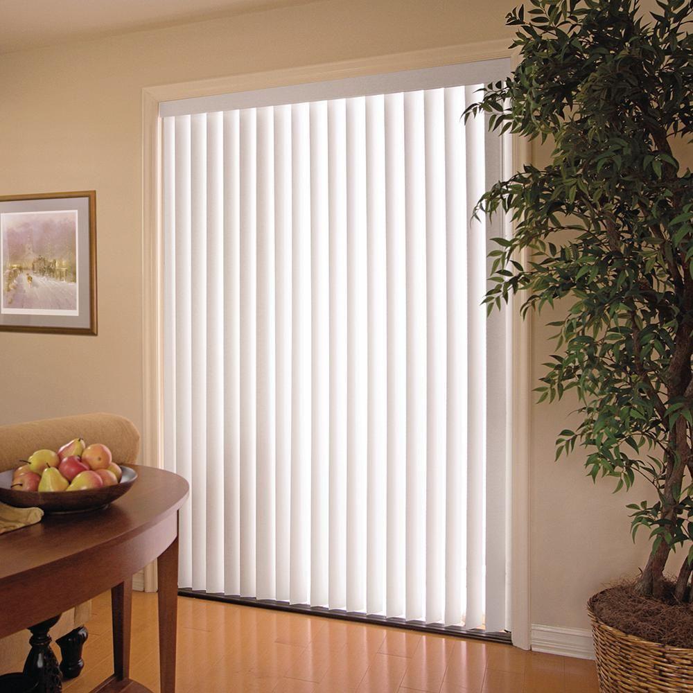 White 3 5 In Pvc Vertical Blind 78 In W X 84 In L Refurbish Vertical Window Blinds Vertical Blinds Blinds Design