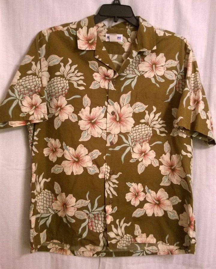 Vintage Aloha Line Hawaii Hawaiian Camp Bowling Shirt Large