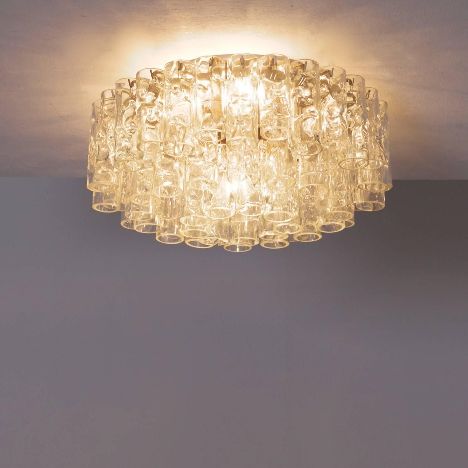 Huge Doria Flush Mount Chandelier with Glass Tubes