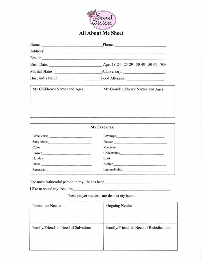 ALL ABOUT ME - example of survey form