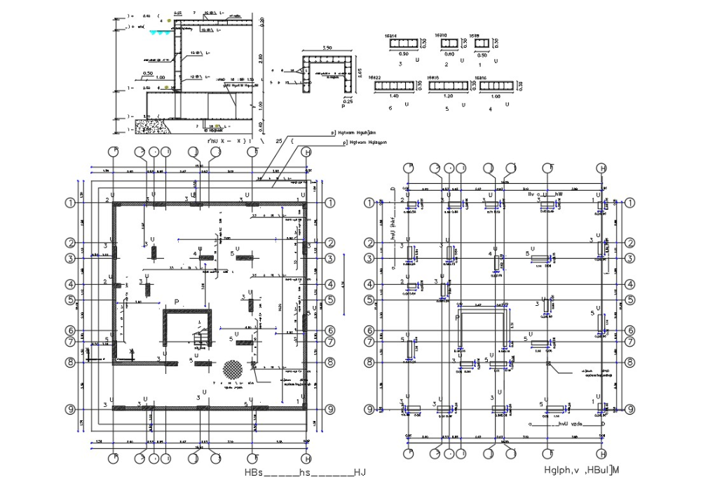 Free Download Column Center Line Plan Autocad File How To Plan Column Center Line