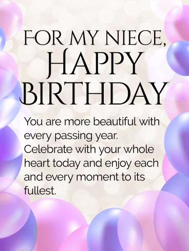 Send Free Enjoy Every Moment Happy Birthday Wishes Card For Niece