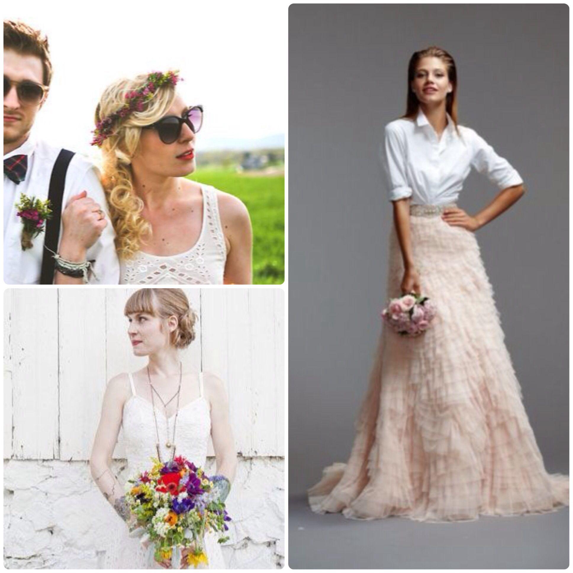 Vestido novia camisa y falda