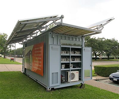 SPACE Solar Powered Shipping Container Outside University Of Houston  College Of Architecture