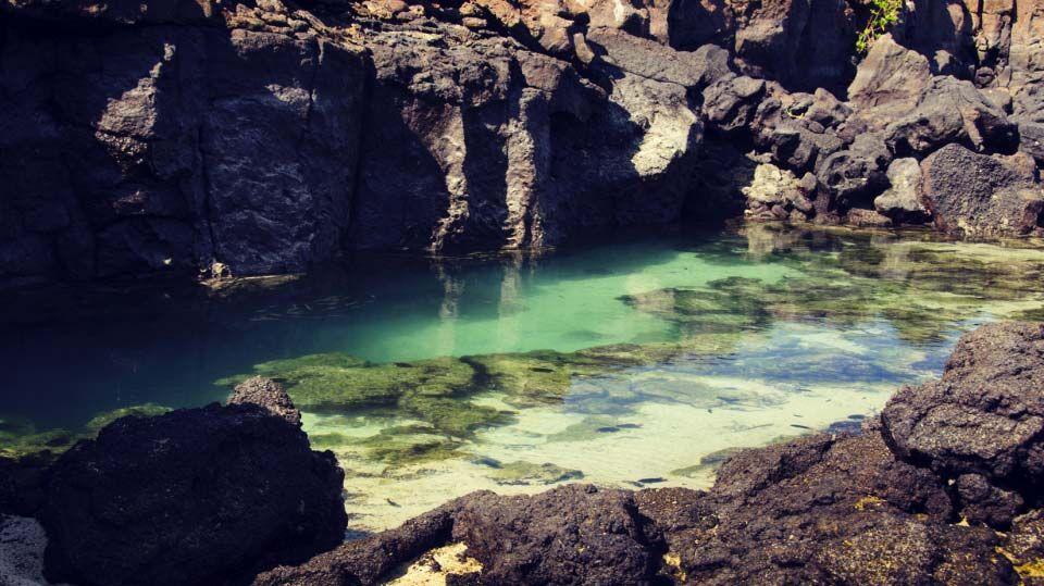 """Desde """"El Muelle de los Alemanes"""" hay que caminar un poco hasta las Grietas. Allí se filtra el agua de mar y forma piscinas aptas para nadar. Sus lagos de agua cristalina y el sol bañando las islas crean un paisaje que parece sacado de libros de fantasía. Se trata de piscinas naturales rodeadas del espectáculo biológico al que nos tienen acostumbrados """"Las Islas Encantadas"""". Déjate enamorar por Galápagos y visita nuestro país."""