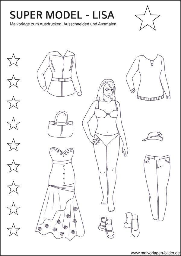super model lisa ausmalbilder mit tollen kleidern