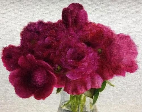 """Daily Paintworks - """"Fuchsia Peonies"""" - Original Fine Art for Sale - © Jonathan Aller"""