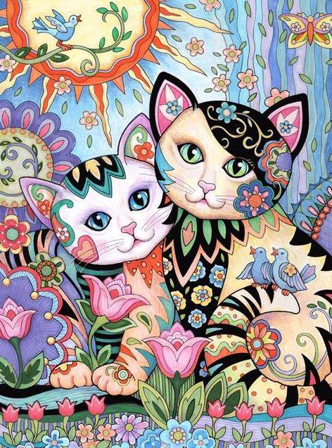 Cuadro de dos gatos un cuadro muy bonito d gatos - Cuadros muy bonitos ...