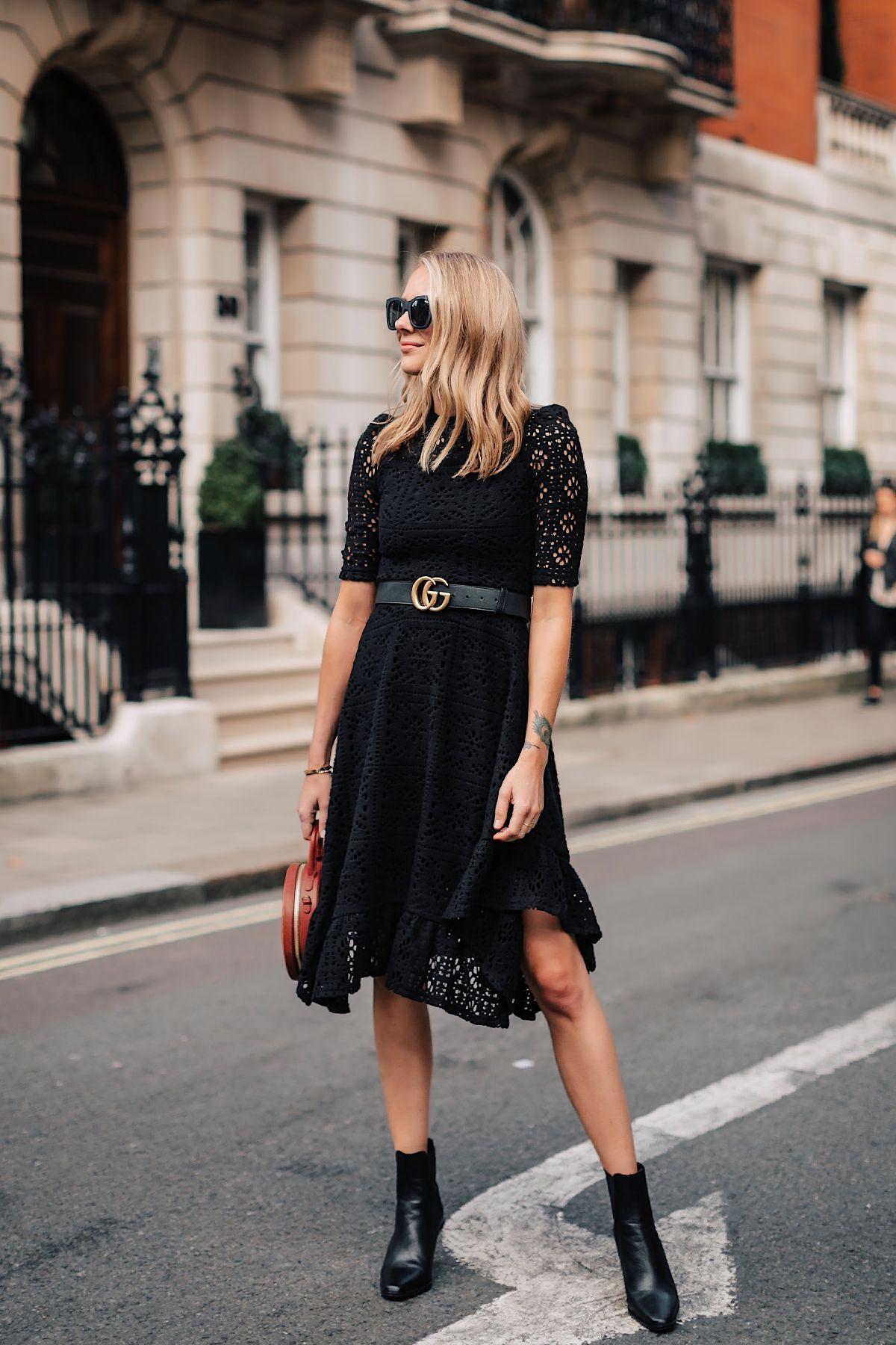 Woman Wearing Reformation Black Dress Tan Ankle Strap Heeled Sandals Chanel Tan Diana Handbag Gold Coin Necklace Fash Fashion Fashion Jackson Tight Black Dress [ 1104 x 736 Pixel ]