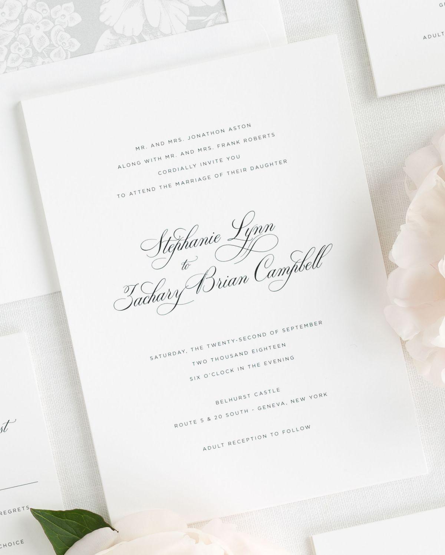 Delicate Elegance Wedding Invitations | Timeless wedding, Weddings ...