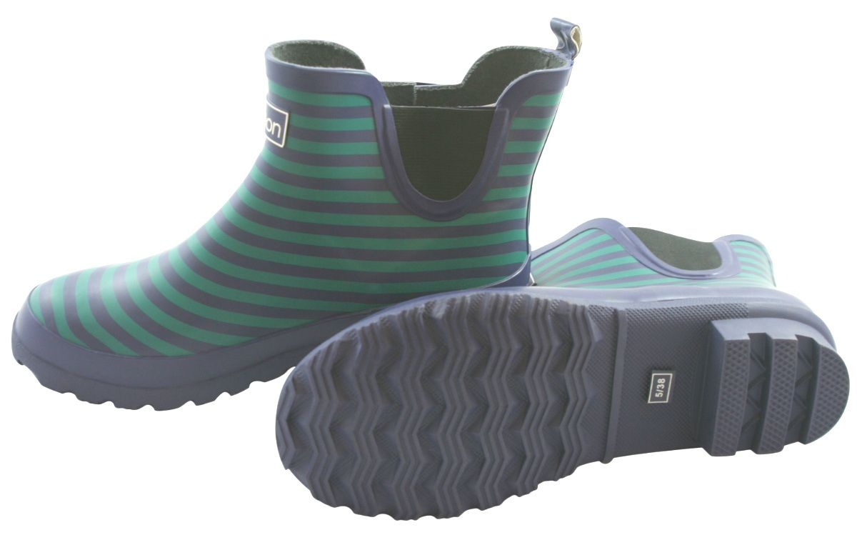f3cf6969d78f Jileon Wellies - Blue Stripe Ankle Wellies