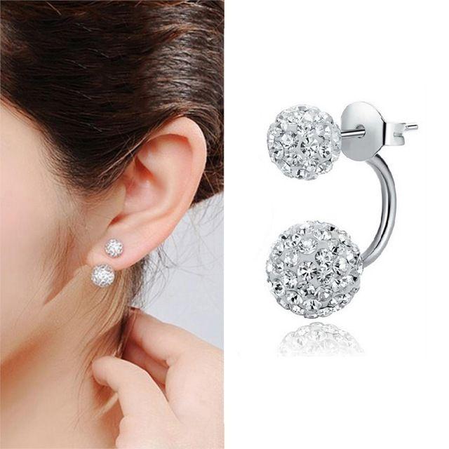 84d59ef4085d De moda de Doble Bola de Cristales de Plata Stud Pendientes Para Las Mujeres  Pendientes de