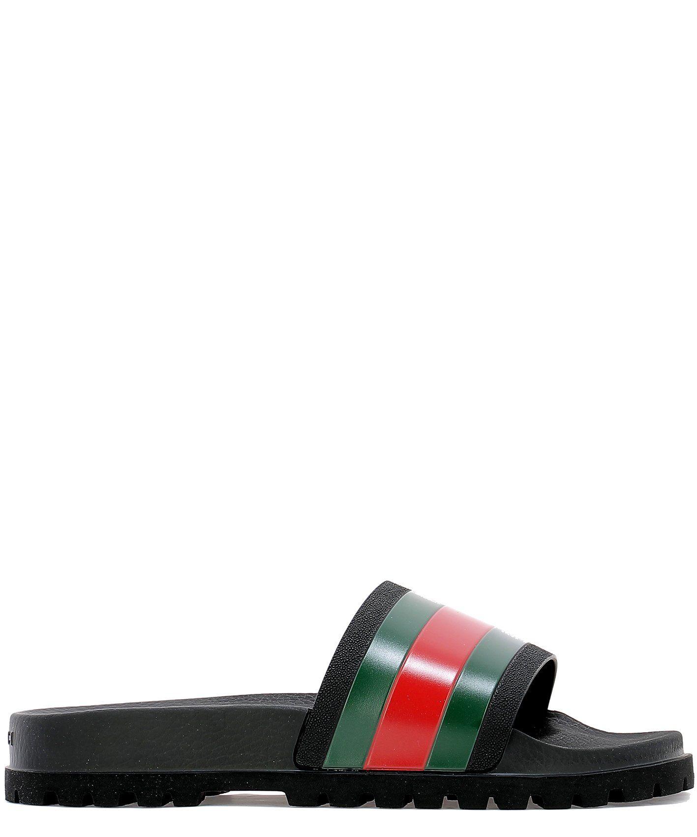 4f174714bc3 GUCCI GUCCI WEB DETAIL RUBBER SLIDES.  gucci  shoes