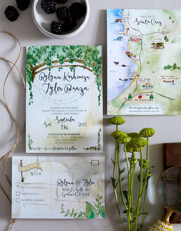 Postcard Wedding Stationery We Love Green Invites Msw