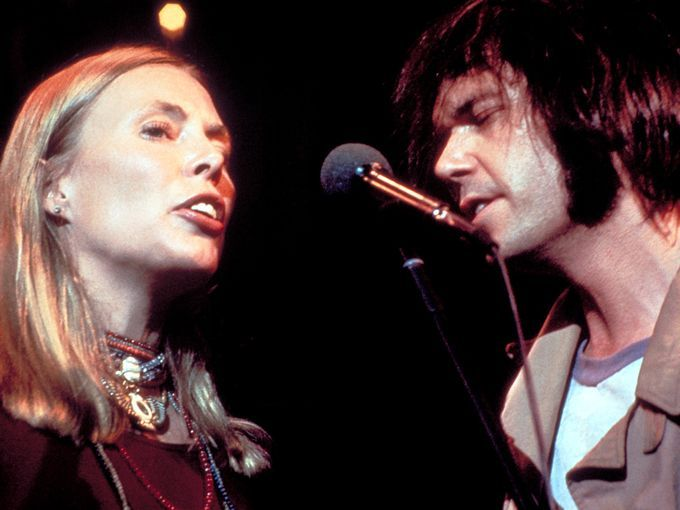 Joni and Neil Young in a scene from the 1978 documentary