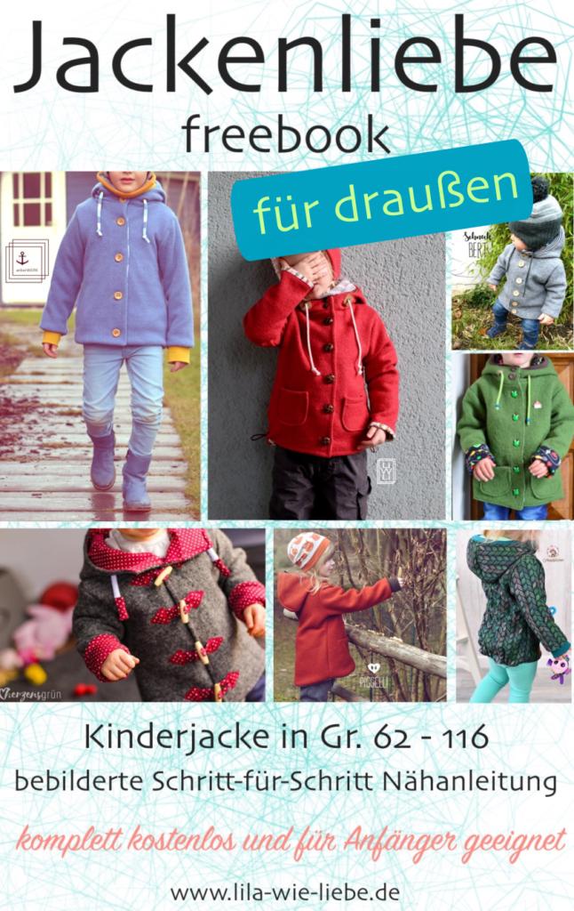 Kinderjacke Jackenliebe (Freebook)- die Draußenjacke / Walkjacke - Lila wie Liebe #freebookschnittmuster