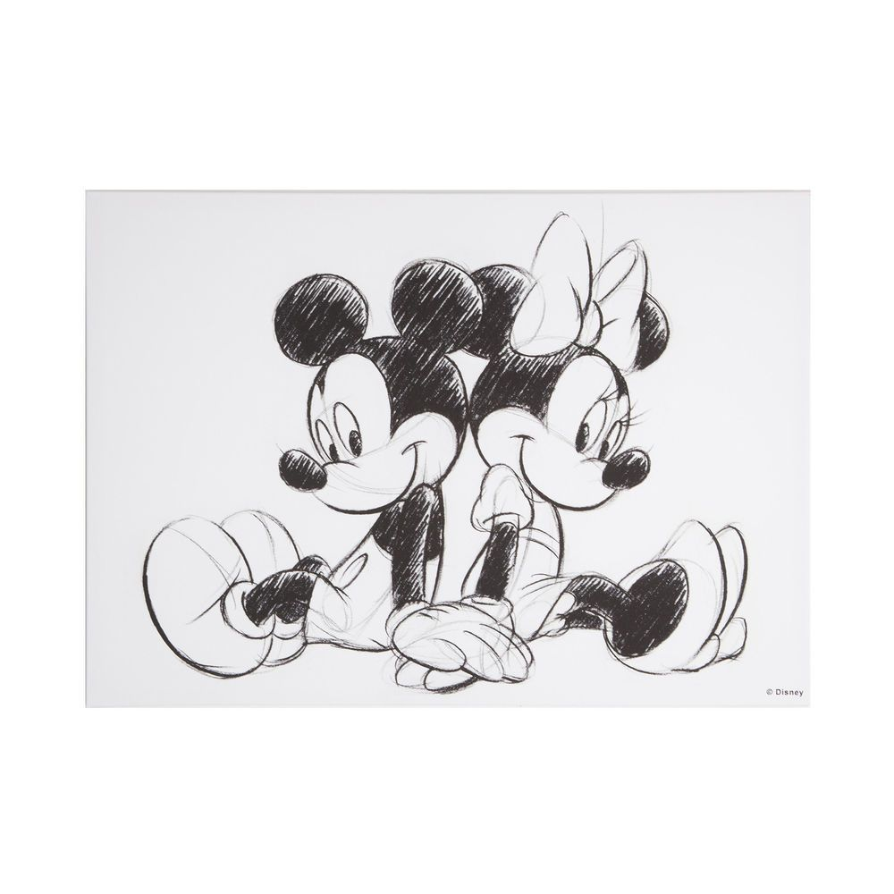 Disney Vintage Mickey Minnie Mouse Sketch Sitting Canvas Wall Art