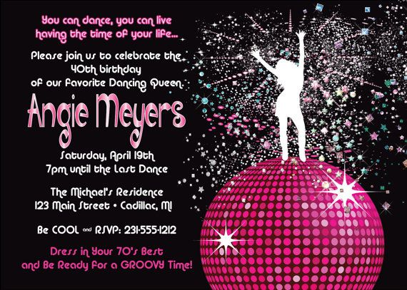 women s birthday party invitation disco dancing queen 70 retro