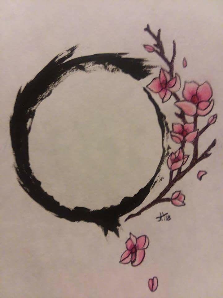 Tattoos design Japanese enso with Sakura blossoms