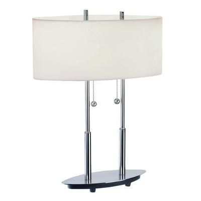 Table Lamps At Home Depot Illumine  2 Light Table Lamp Steel Finish White Fabric Shade  Cli