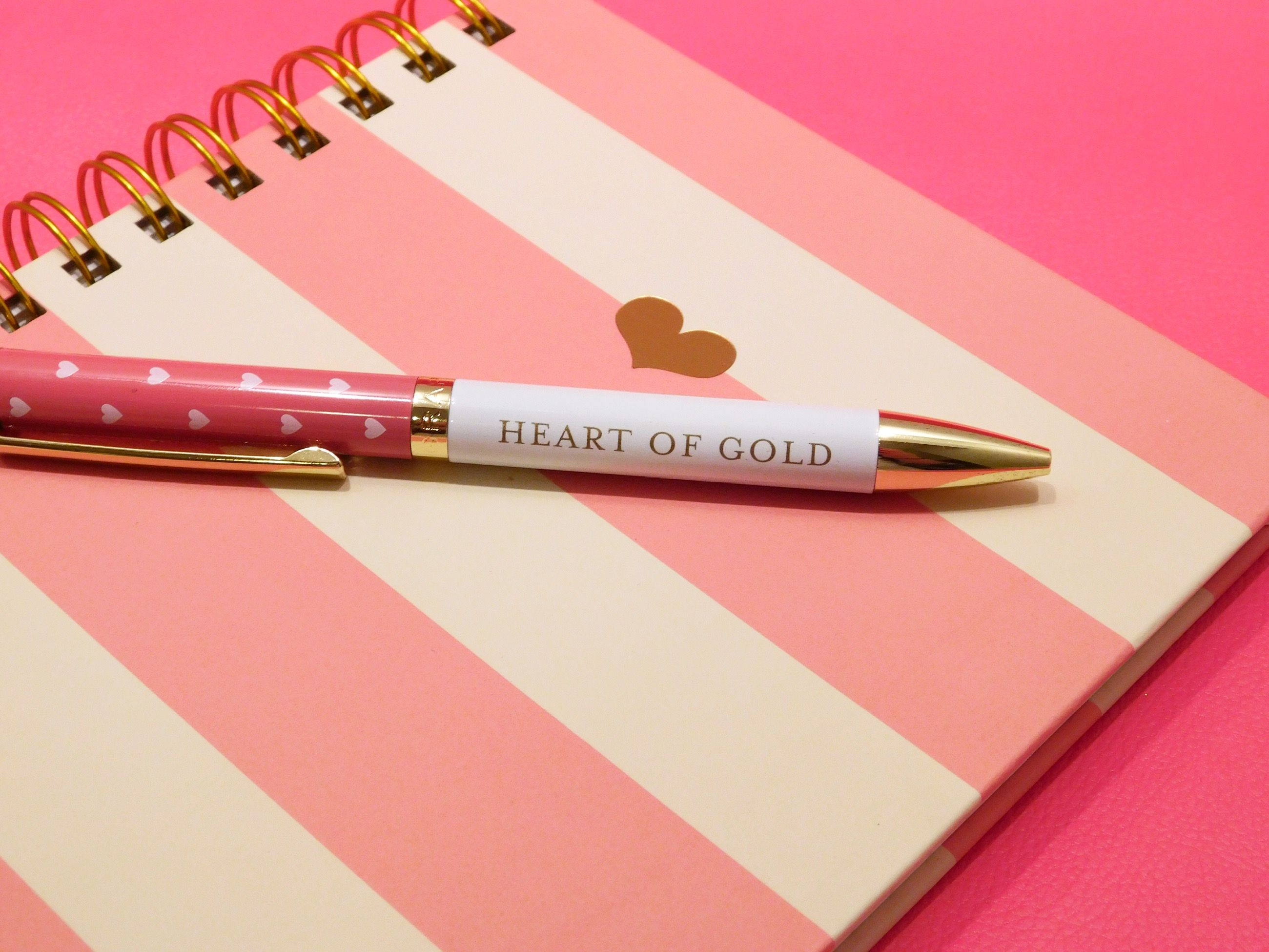 Pink Charm Hard Cover Journal & Heart Of Gold Fashion