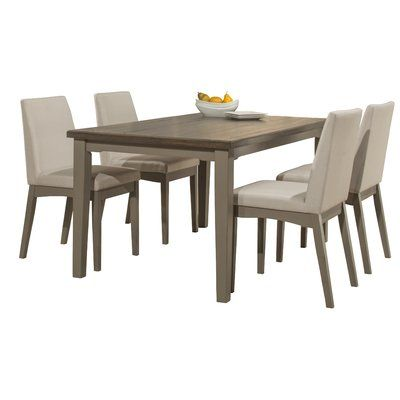 The Urban 7 Piece Dining Set Includes A Four Leg Table With 6 Side Chairs  With Cushioned Seats And Backs. Shown In A Weathered Gray Finish And The ...