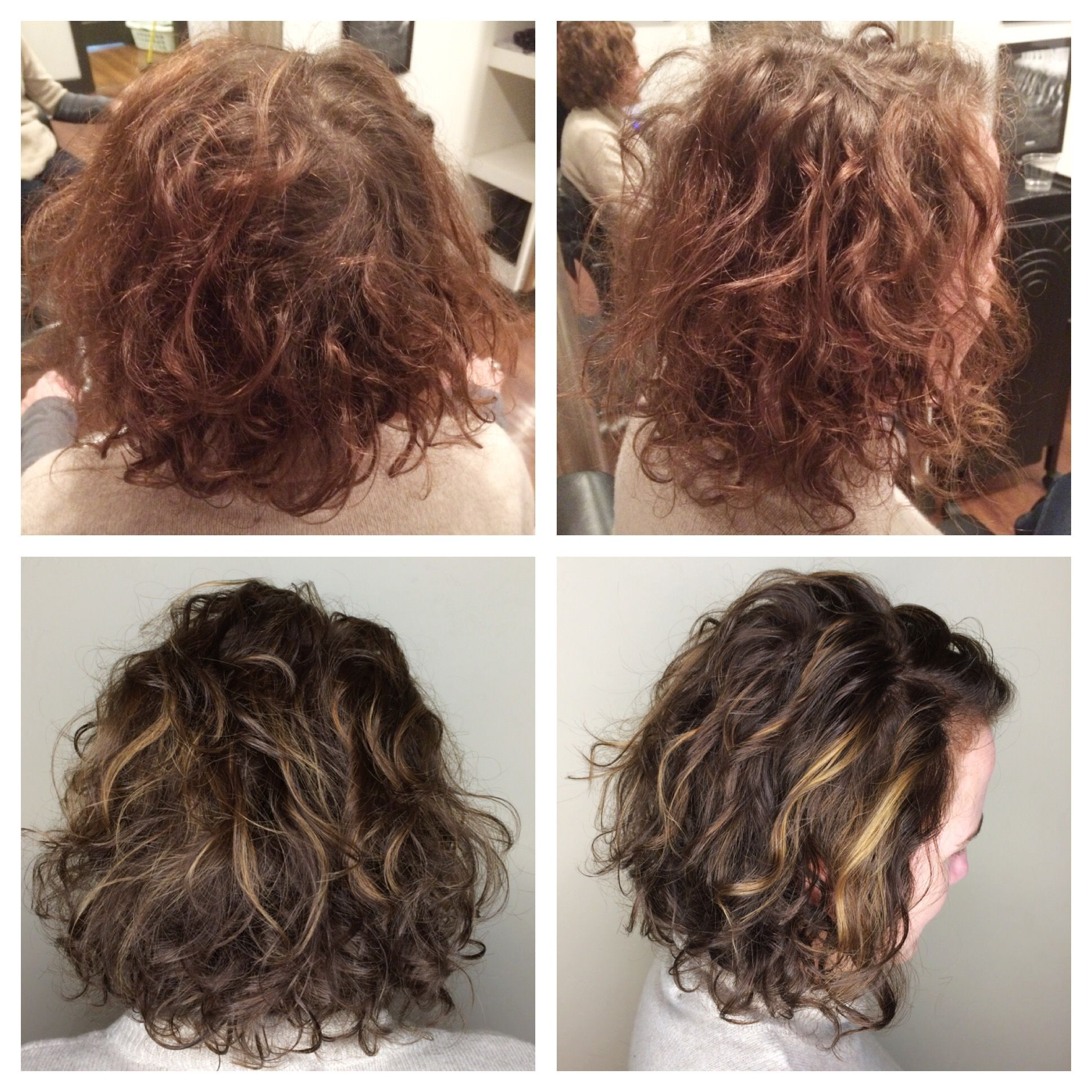Before After Curly Hair Brunette Balayage