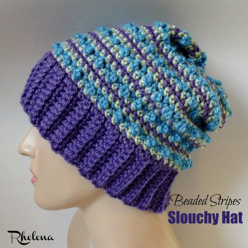 Beaded Stripes Slouchy Hat ~ FREE Crochet Pattern | knitting and ...