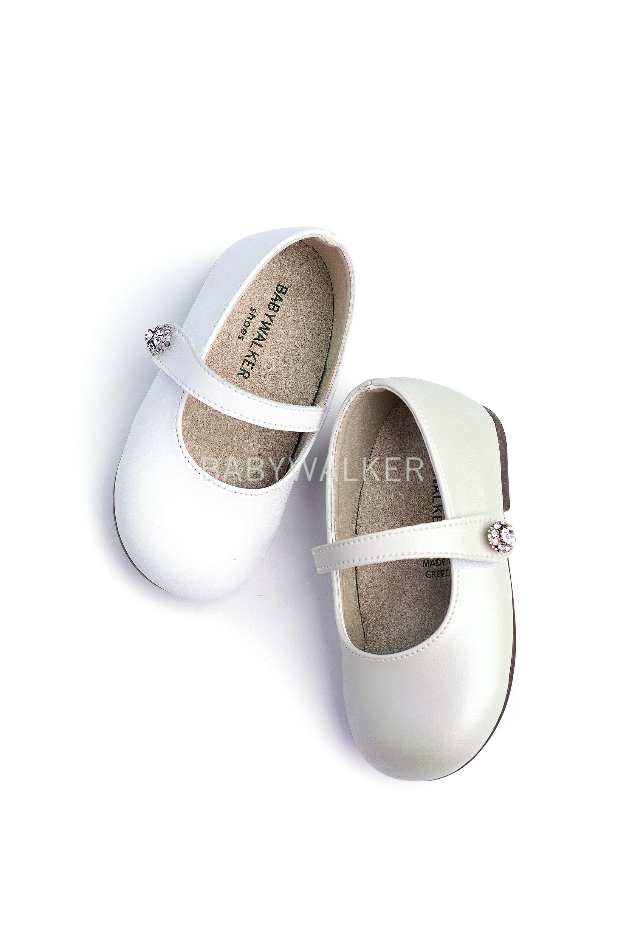 11e28735054 Βαπτιστικό παπούτσι Babywalker για κορίτσι από συνθετικό περλέ και ματ  δέρμα σε εκρού και λευκό