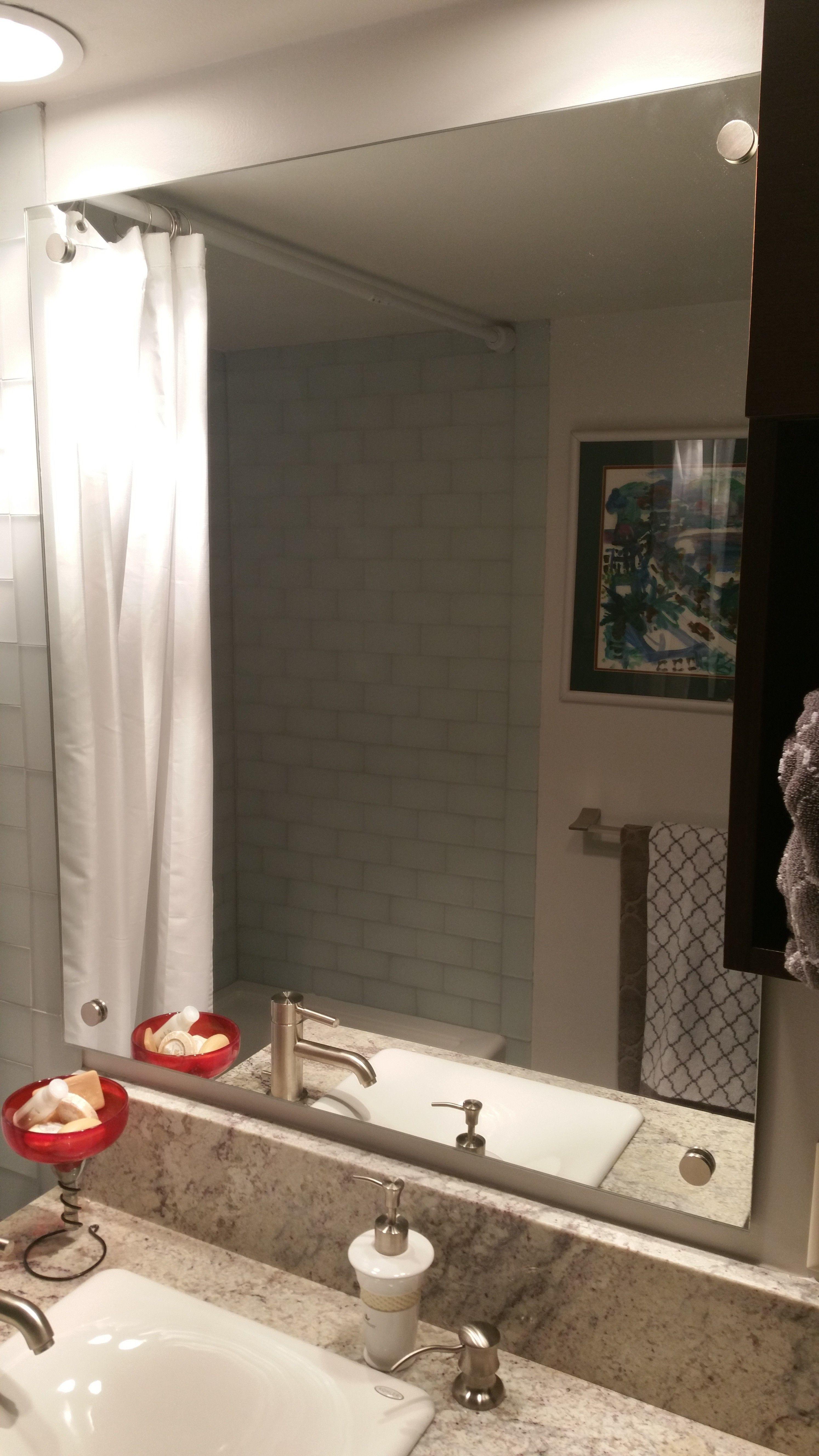bathroom vanity mirror with standoffs residential glass binswanger glass kansas city independence missouri - Bathroom Cabinets Kansas City