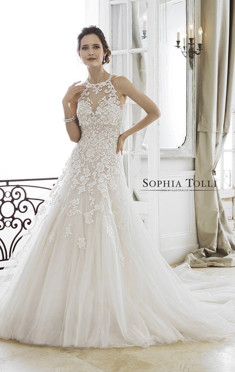 Strapless Dropped Waist Lace Fairytale Wedding Dress Y11866