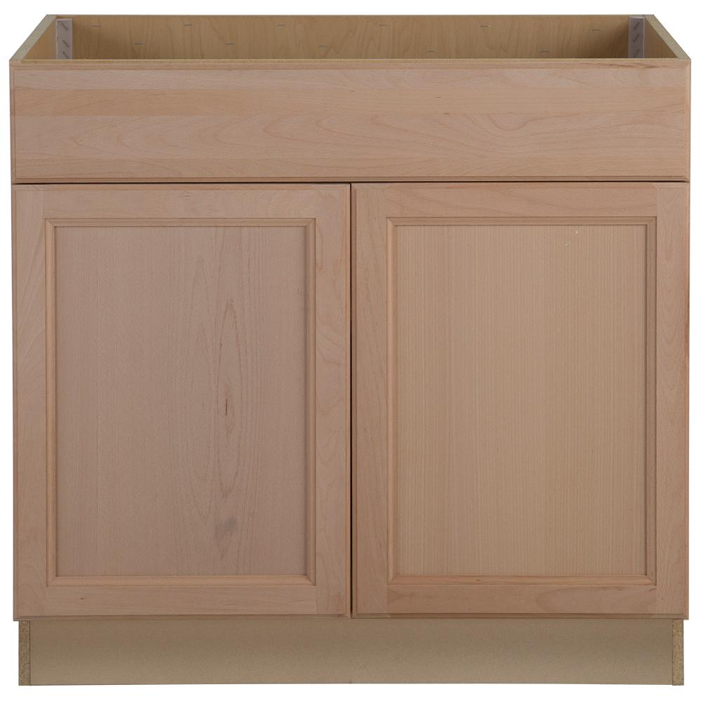 Hampton Bay Assembled 36x34 5x24 In Easthaven Sink Base Cabinet With False Drawer Front In Unfinished Germa Base Cabinets Drawer Fronts Kitchen Cabinet Colors