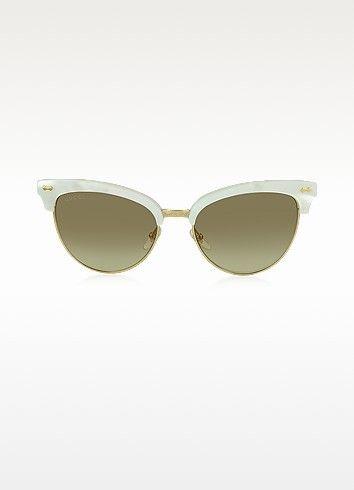 c273a14d84b6b GUCCI Gg 4283 S U29Jd White Acetate   Gold Metal Cat Eye Women S Sunglasses.