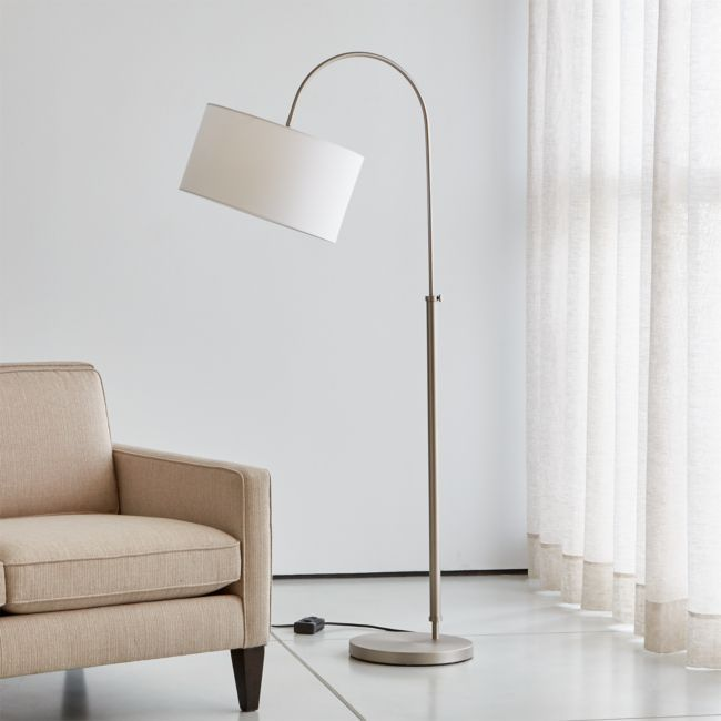 Petite Brushed Nickel Adjustable Arc Floor Lamp + Reviews | Crate and Barrel