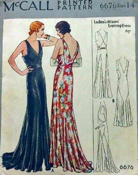 Mccall 6676 1930s Evening Dress Pattern Vintage Dress Patterns