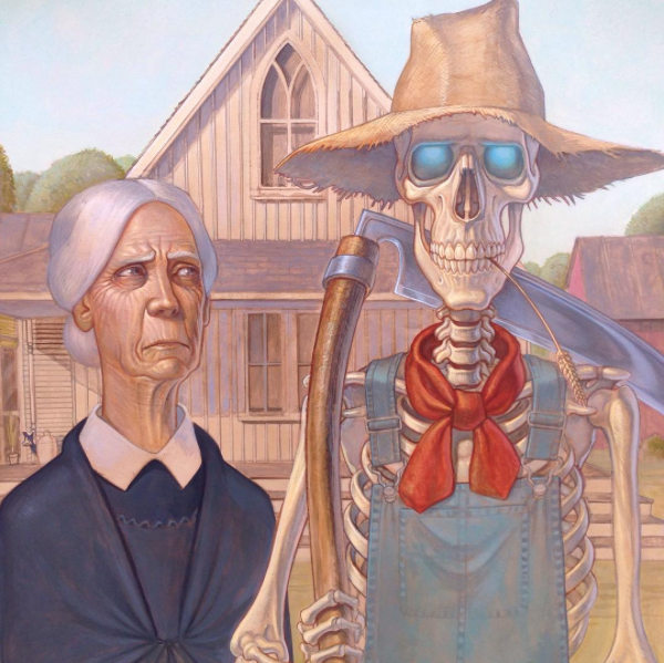 Bill Door going all American Gothic to cheer up a rainy Tuesday. Painted last year acrylic on board.  sc 1 st  Pinterest & Bill Door going all American Gothic to cheer up a rainy Tuesday ...