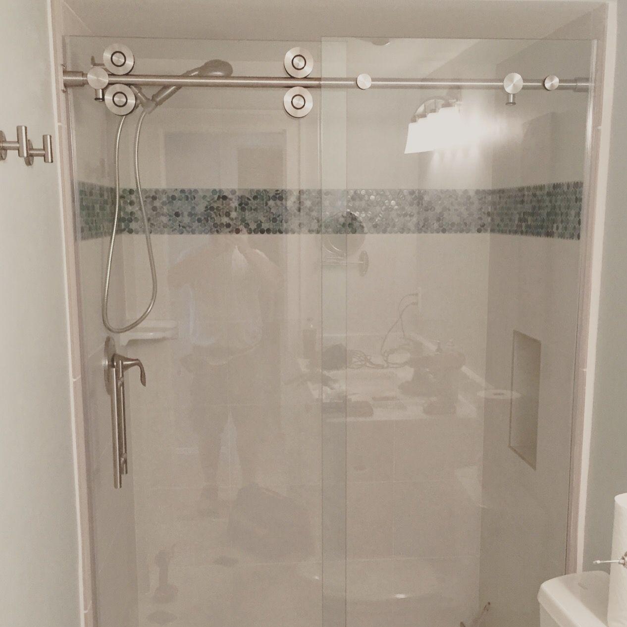 Barn Style Frameless Sliding Glass Shower Door Hardware Shower