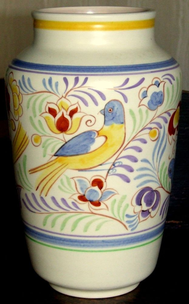 Rare Poole Pottery Vase Painted With The Sy Persian Bird Pattern Ye