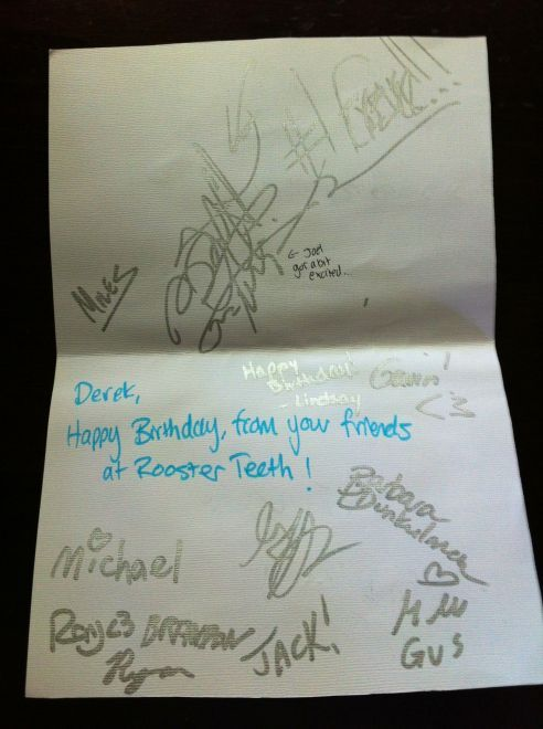 The perfect birthday gift. Card signed by Rooster Teeth.