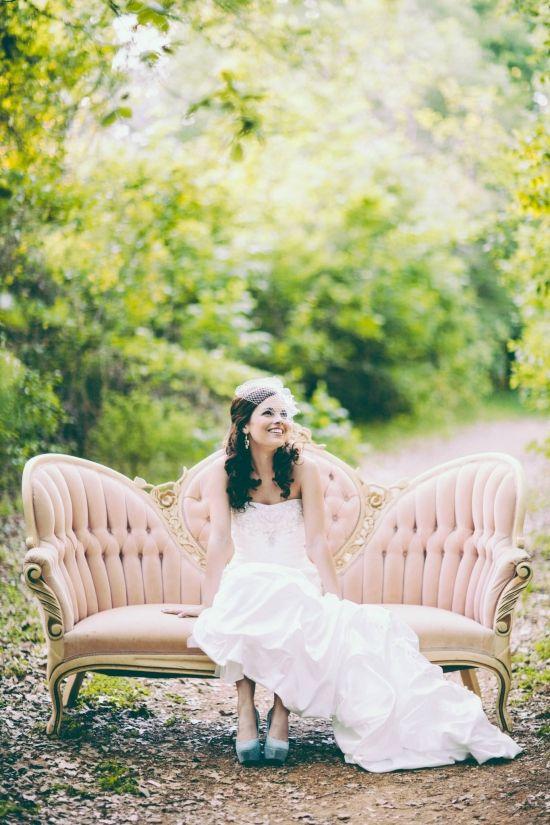 Pink Velvet Sofa Outdoor Bridal Shoot Bridal Portrait