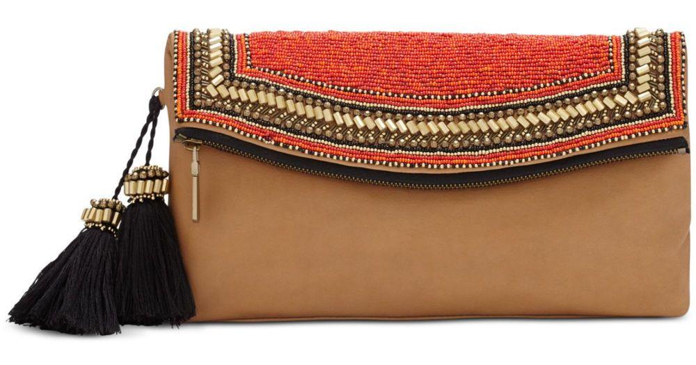 VINCE CAMUTO Bessy Red Camel Clutch - NEW - Retail Price: $228 #VinceCamuto #Clutch  http://www.ebay.com/cln/brandsandu2016