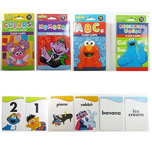 4 Sesame Street Flash Cards Beginning Words Numbers Color