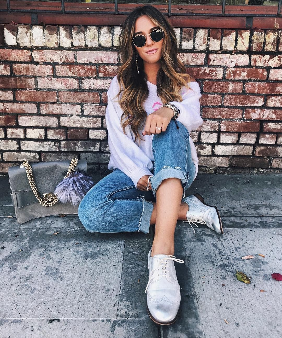0a7f2e7deeb fall  outfits boyfriend jeans blouse silver shoes grey bag