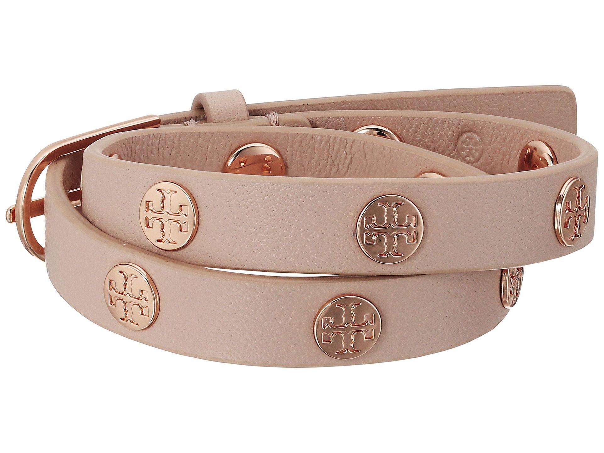 Tory Burch Double Wrap Logo Stud Bracelet Light Oak Rose Gold Zos