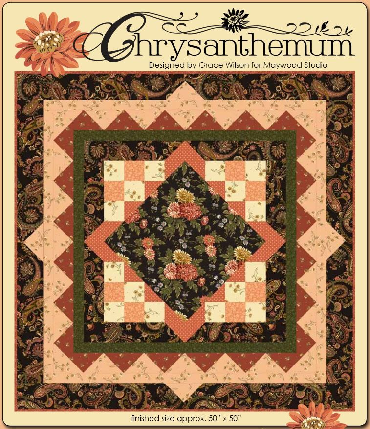 Everyone loves mums, and this wonderful pattern reminds us of the endless abundance of beautiful petals in chrysanthemums!  Grace Wilson created this quilt pattern for Maywood Studio and the comprehensive instructions are easy to follow.http://www.freequiltpatterns.info/free-pattern---chrysanthemum-quilt-by-grace-wilson.htm